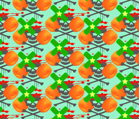 roller derby fabric orange/green fabric by jenr8 on Spoonflower - custom fabric