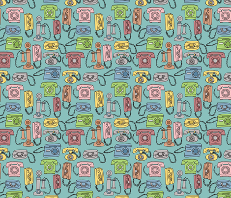retro rotary phones fabric by jeannemcgee on Spoonflower - custom fabric