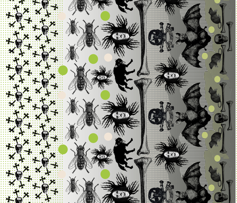 "Poe ""Black Metal"" railroad panel fabric by susiprint on Spoonflower - custom fabric"