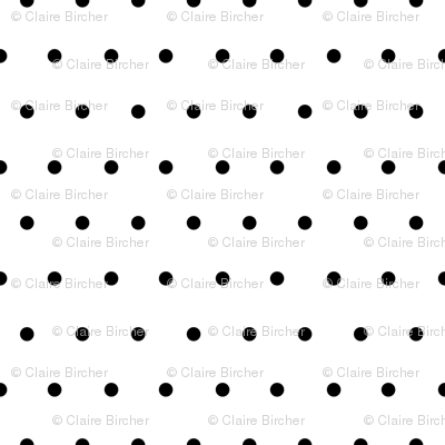 Polka black on white