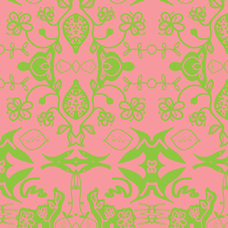 lime blossom (damask) fabric by fabricfarmer_by_jill_bull on Spoonflower - custom fabric