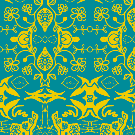 lemon blossom (damask) fabric by fabricfarmer_by_jill_bull on Spoonflower - custom fabric