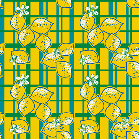 lemon line (plaid) fabric by fabricfarmer_by_jill_bull on Spoonflower - custom fabric