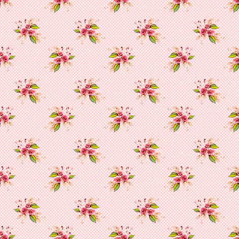 Parson's Pink Roses dainty fabric by joanmclemore on Spoonflower - custom fabric