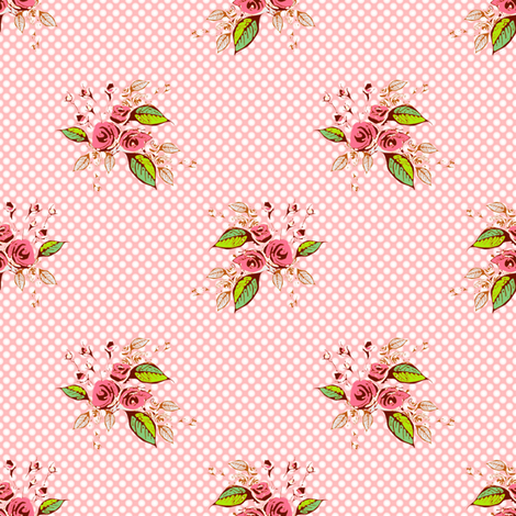 Parson's Pink Roses and Dots larger scale fabric by joanmclemore on Spoonflower - custom fabric