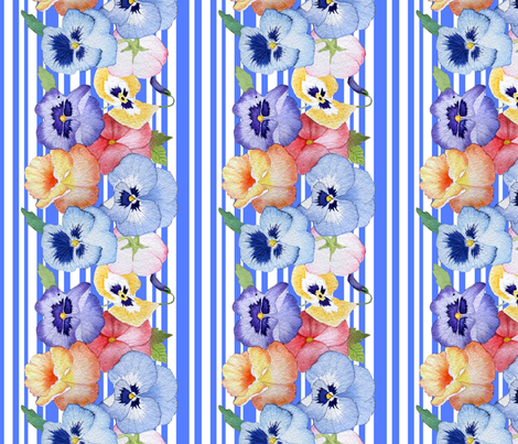 pansy stripe in blue fabric by golders on Spoonflower - custom fabric