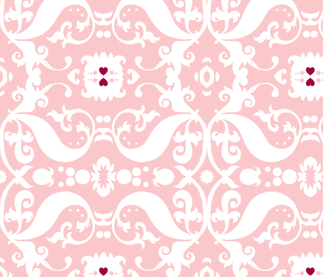 Damask with pink hearts white on light pink fabric - nb ...
