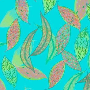 Watercolor leaves on blue