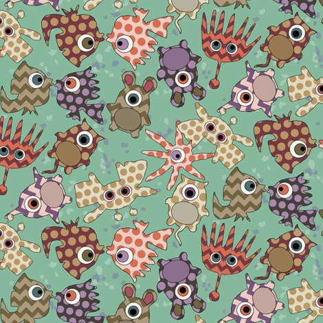 sea monster love fabric by scrummy on Spoonflower - custom fabric