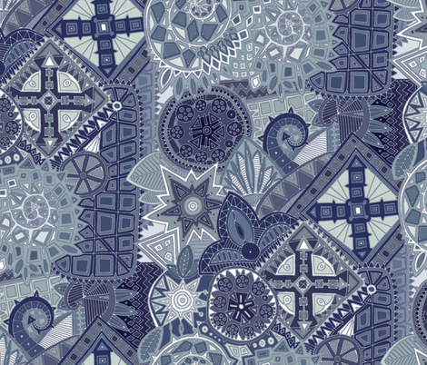 dragon tail blue fabric by scrummy on Spoonflower - custom fabric