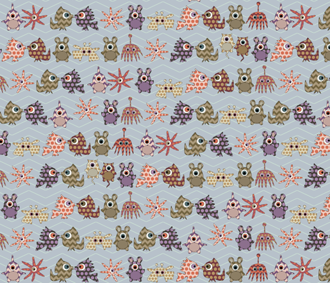 sea monster stripe fabric by scrummy on Spoonflower - custom fabric