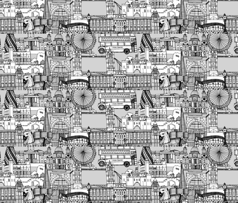 London toile monchrome custom panels 44x10 inch fabric by scrummy on Spoonflower - custom fabric