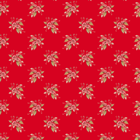 Roses on red (larger print) fabric by joanmclemore on Spoonflower - custom fabric
