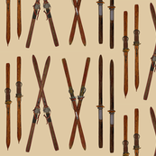 Vintage skis crosshatch