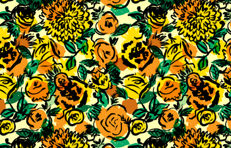 Vintage Floral in Mustard fabric by red_velvet on Spoonflower - custom fabric