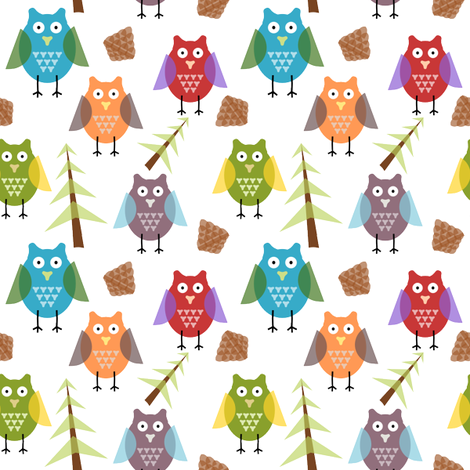 my owl with flora fabric by with2fs on Spoonflower - custom fabric