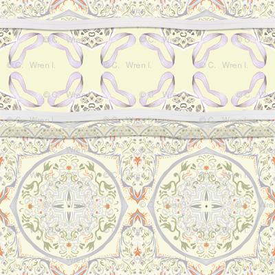 Lavender cupcake-ribbon rows