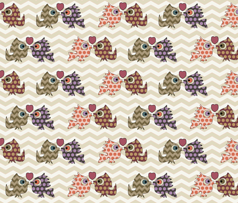monster kisses fabric by scrummy on Spoonflower - custom fabric