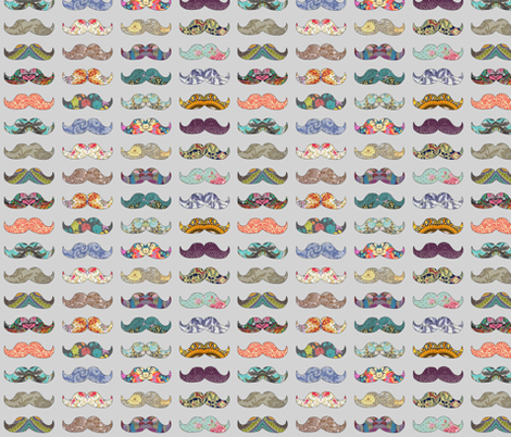 Mustache Mania (grey) fabric by biancagreen on Spoonflower - custom fabric