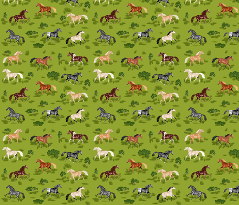 Horses B 8 small fabric by khowardquilts on Spoonflower - custom fabric