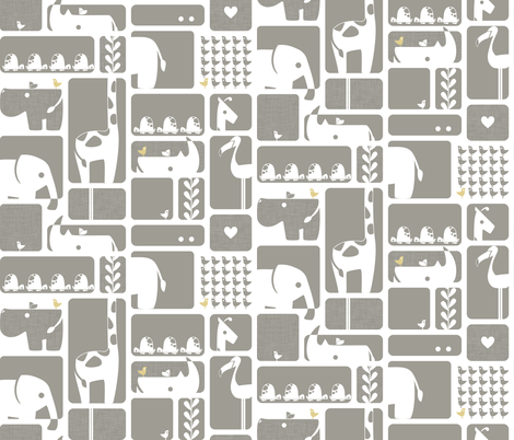 Animal Impression Collection - Animal Silhouette Quilt, Linen (gray/yellow) fabric by ttoz on Spoonflower - custom fabric