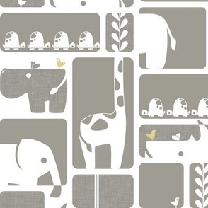 Animal Impression Collection - Animal Silhouette Quilt, Linen (gray/yellow)
