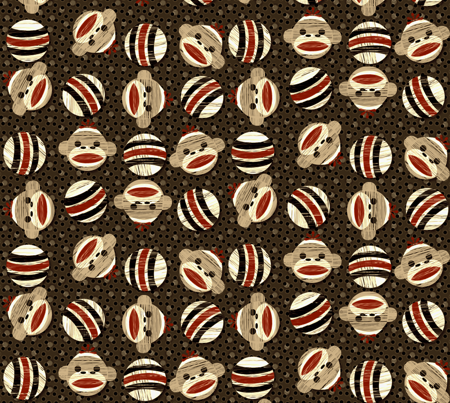 sockmonkey_dots2 cocoa fabric by glimmericks on Spoonflower - custom fabric