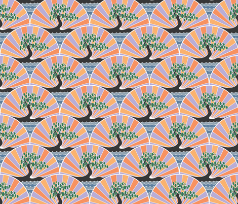Faded Art Deco Tree fabric by phantomssiren on Spoonflower - custom fabric