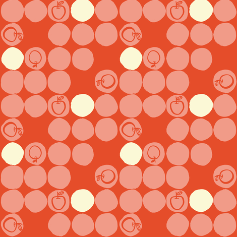 Apple-Di-Do-Dots    Red and Cream fabric by gsonge on Spoonflower - custom fabric
