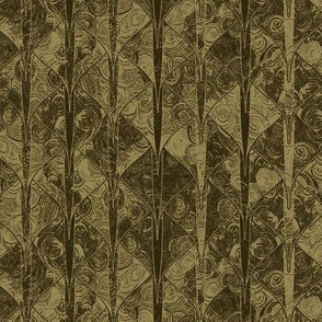 Dark sepia dragon scale brocade