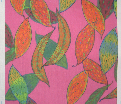 Autumn leaves on magenta