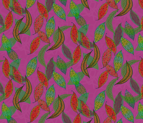Autumn leaves on magenta fabric by su_g on Spoonflower - custom fabric