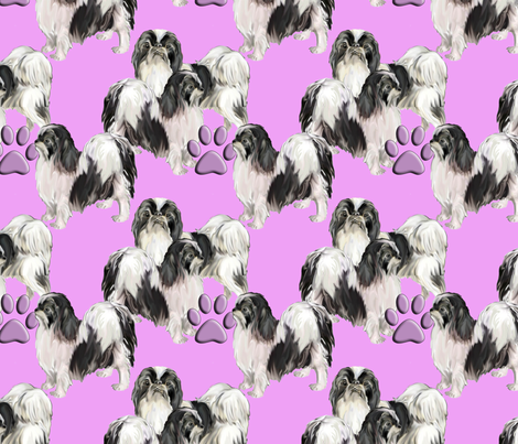 Japanese Chins on pink background fabric by dogdaze_ on Spoonflower - custom fabric