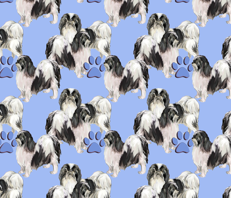 Japanese Chins on blue background fabric by dogdaze_ on Spoonflower - custom fabric