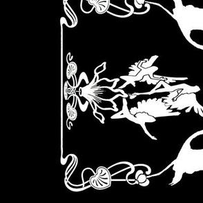 Art Nouveau B/W Border Print Black