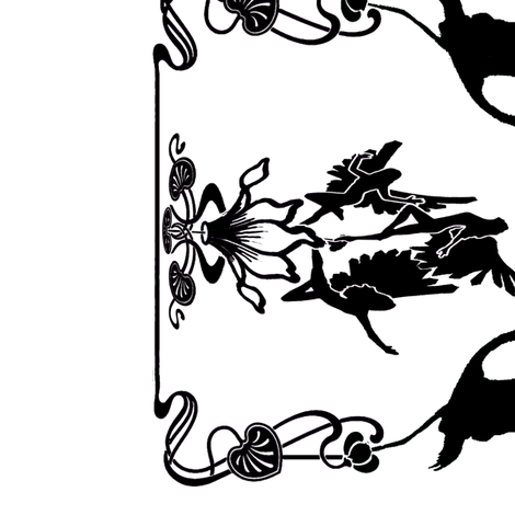 Art Nouveau B/W Border Print White fabric by topfrog56 on Spoonflower - custom fabric