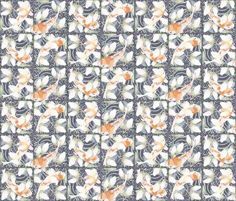 waterlily koi pond sketchy fabric by glimmericks on Spoonflower - custom fabric