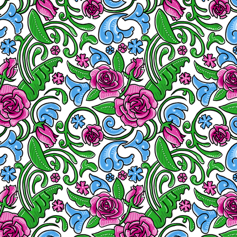 Girlie Graffiti Roses - Dianne Annelli © fabric by dianne_annelli on Spoonflower - custom fabric
