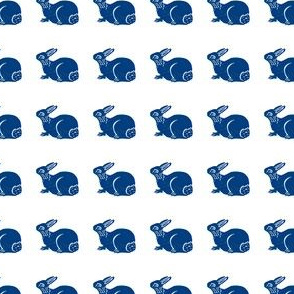 cute bunny dark blue on white