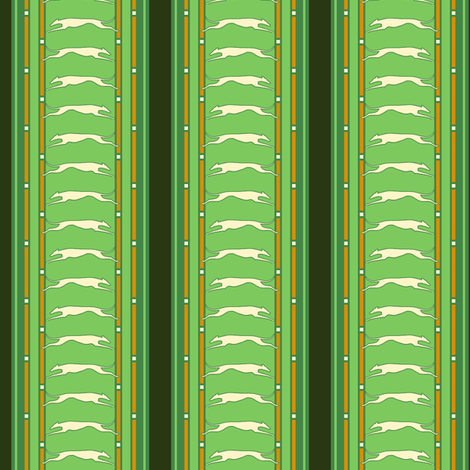 Green Stripe with Greyhounds fabric by artbyjanewalker on Spoonflower - custom fabric