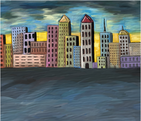 Oil Cityscape fabric by traceyleedesigns on Spoonflower - custom fabric