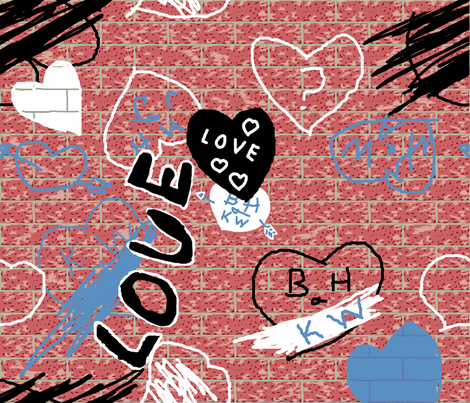 love_graffiti_brick_fq_plus fabric by khowardquilts on Spoonflower - custom fabric
