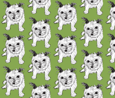 Cairn Terrier Green fabric by annersbananers on Spoonflower - custom fabric