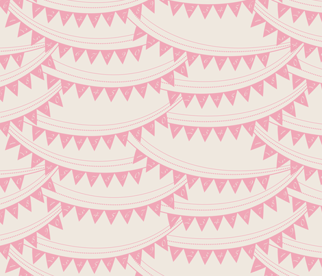 Bunting_banner_PINK fabric by natasha_k_ on Spoonflower - custom fabric