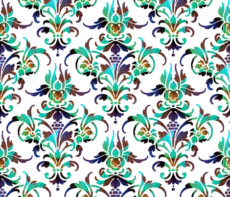 Jonesy ~ Peacock Damask fabric by peacoquettedesigns on Spoonflower - custom fabric