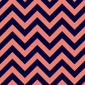 navy & coral chevron
