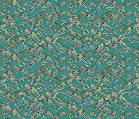 ©2011 Calimari Seagreen fabric by glimmericks on Spoonflower - custom fabric