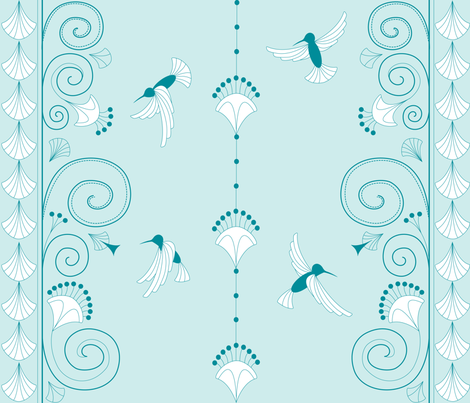 Art Deco, Humming Bird fabric by walsh|studio on Spoonflower - custom fabric