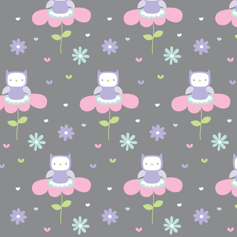 sweet girl - owls fabric by misstiina on Spoonflower - custom fabric