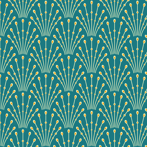 art deco beads - peacock